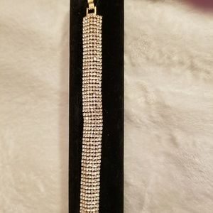 Gold Bracelet With 7-Rows of High-Grade Crystal